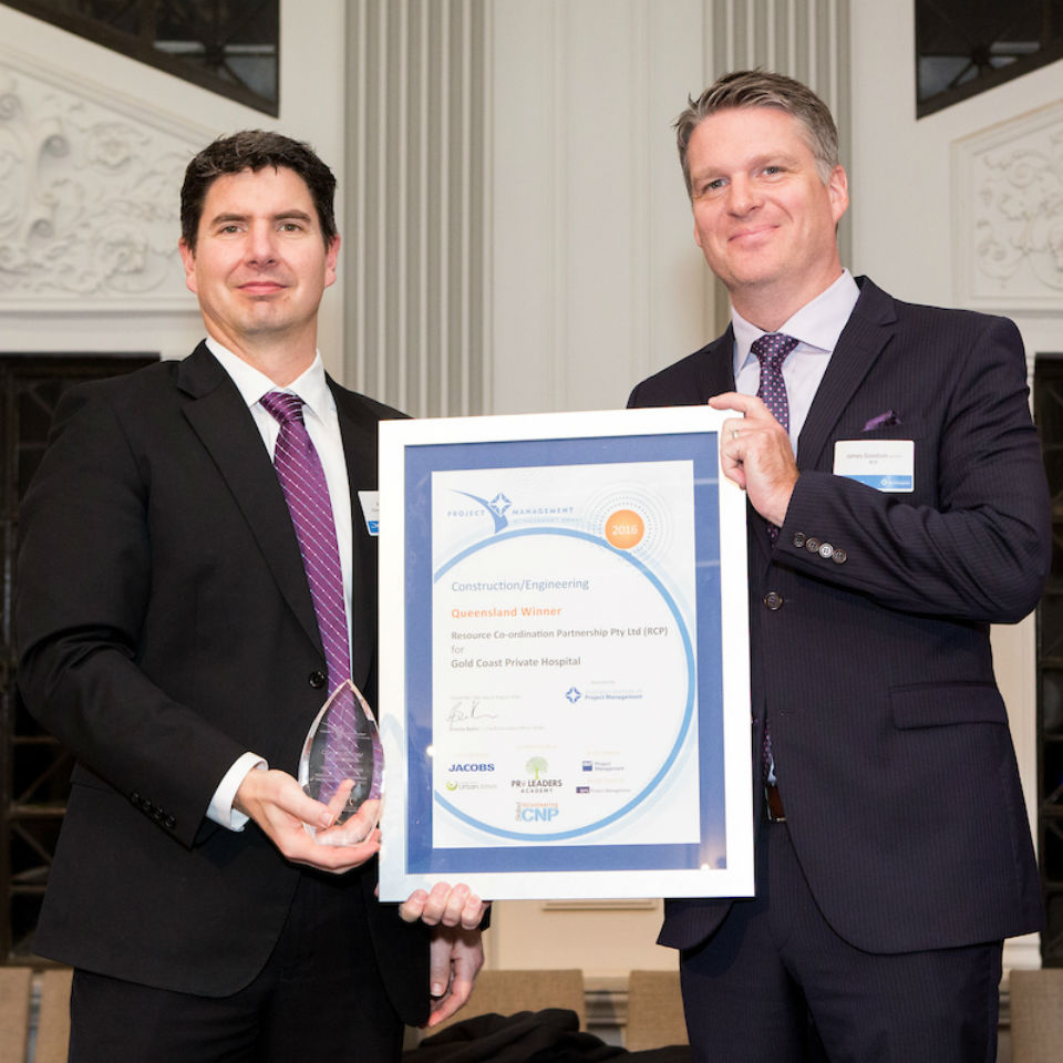 RCP Associate, James Goodson accepts 2016 AIPM Queensland Project Management Achievement Award