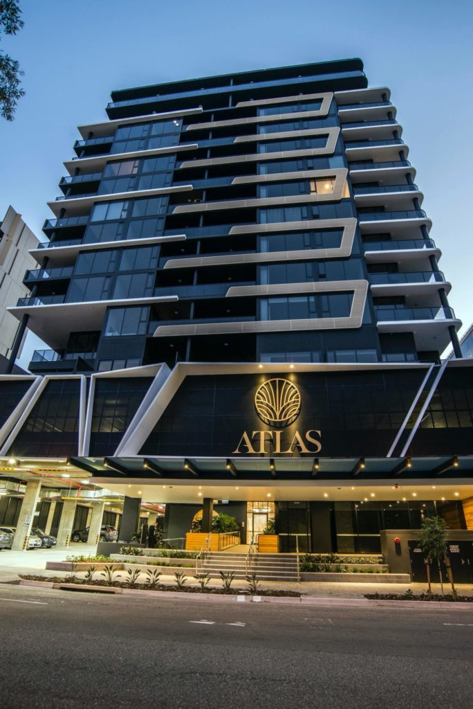 Front of building stage 1 Atlas Apartments